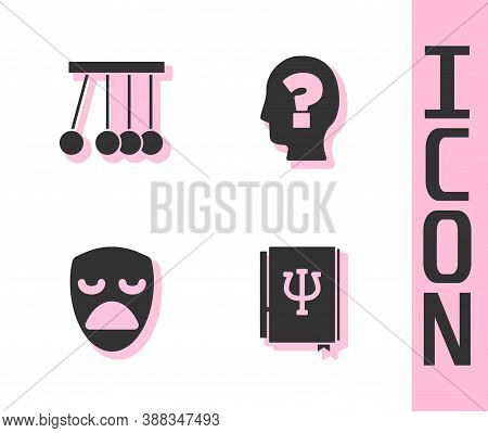 Set Psychology Book, Psi, Pendulum, Drama Theatrical Mask And Head With Question Mark Icon. Vector