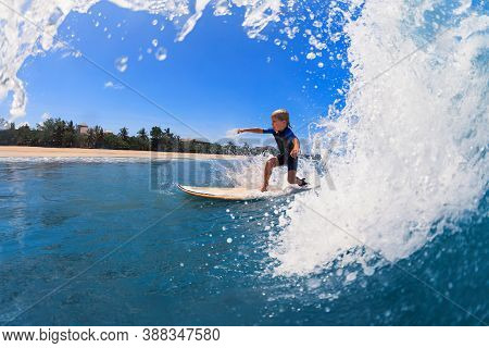Happy Surf Boy - Young Surfer Learn To Ride On Surfboard With Fun On Sea Waves. Active Family Lifest
