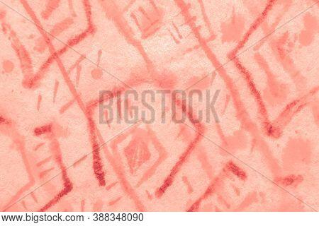Strokes Watercolour. Grunge Pattern. Orange Bohemian Design. Ink Brush Strokes. Bohemian Style. Arti