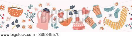 Hygge Autumn And Winter Pattern Border Design. Cute And Cosy Vector Seamless Repeat Banner. Illustra