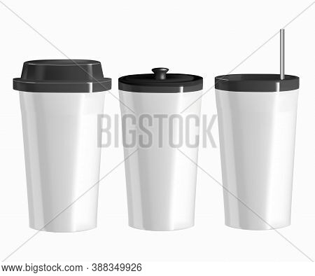 Vector Realistic Image Of Utensils For Hot Drinks. Illustration Of Options For Isolated Glasses With