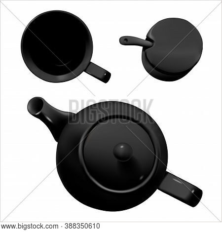 Realistic Vector, Isolated Image Of Black Ceramic Tableware. Top View Of A Teapot, Cups And Containe