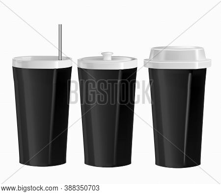 Vector Realistic Illustration Of Kitchen Utensils. Isolated Image Of Cups With Lid And Straw. Side V
