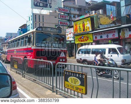 Colombo, Sri Lanka - May 03, 2009: The Road And Restaurant Bombay Sweet Mahal In Colombo, Sri Lanka