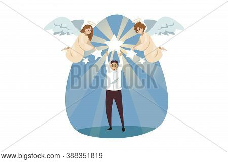 Religion, Christianity, Support, Success, Goal Achievement Concept. Angels Biblical Characters Helpi