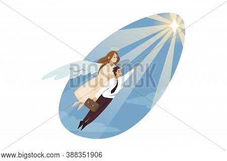 Religion, Christianity, Support, Success, Goal Achievement Concept. Angel Carrying Of Young Business