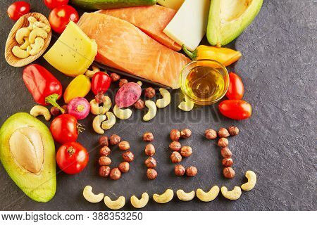 Ketogenic Diet Healthy Food Concept. Low Carb Keto Diet Food Set, The Inscription Diet Is Lined With