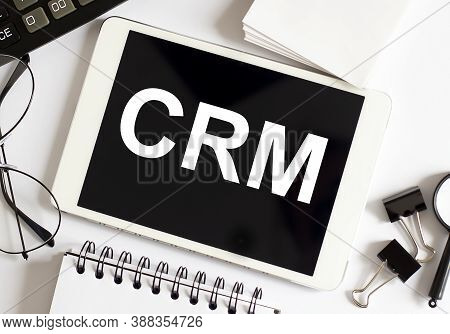 Customer Crm Management Analysis Service Business Crm Computing Computer Laptop With Screen On Table