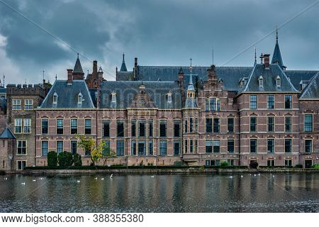 View of the Binnenhof House of Parliament and the Hofvijver lake. The Hague, Netherlands
