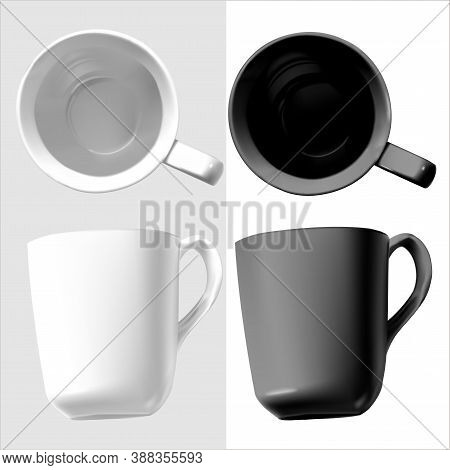 Vector Realistic Illustration Of China Tableware. Isolated Image Of Cups. Top And Side View. White A