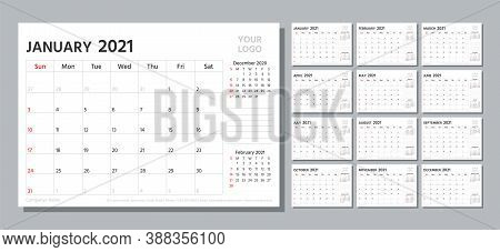 Planner 2021. Week Starts Sunday. Calendar Template. Vector. Yearly Stationery Organizer. Table Sche