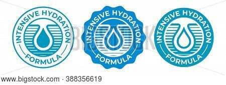 Hydration Icon, Moisturizing Water Drop Vector Logo For Cosmetic Products Package. Intensive Hydrati