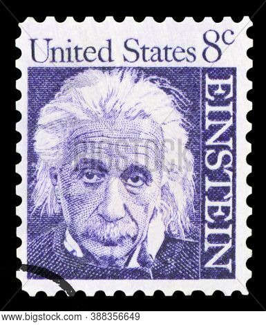 United States Of America - Circa 1965: A Postage Stamp With A Portrait Of Famous Physicist Albert Ei