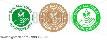 Natural Ingredients Product Icon, Green Organic Bio Vector Logo With Hand, Leaf And Drop. 95 Percent