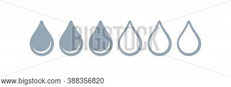 Absorption Drops Icon, Water Absorb For Sanitary Pads And Menstrual Tampons, Vector Absorb Levels. F