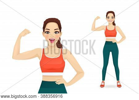 Sport Fitness Surprised Woman Showing Bicep On Her Arm Isolated Vector Illustration