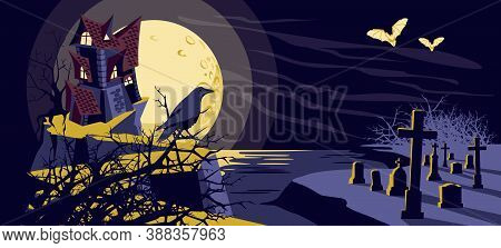 Halloween Mystical Background. Old Scary Haunted House On Graveyard, Raven And Flying Bats At Moonli