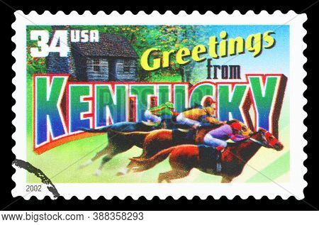 United States Of America - Circa 2002: A Postage Stamp Printed In Usa Showing An Image Of The Kentuc