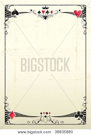 grunge casino. A grunge card frame for a poster.
