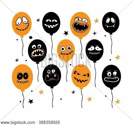 Big Set Of Halloween Balloons Isolated On White Background. Party Decorations For Happy Halloween. F