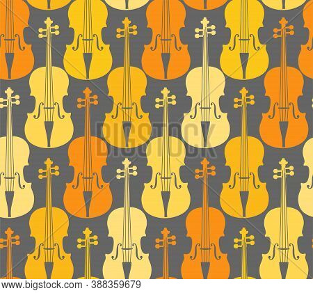 Yellow Violins, Seamless Pattern. Yellow And Orange Violins On A Gray Field. Color, Flat Decor. Vect