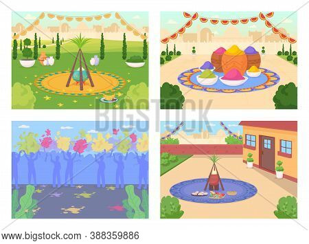 Indian Festival Celebration Flat Color Vector Illustration Set. Lohri Celebratory Feast. Crowd Of Pe