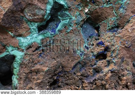 Texture Of Natural Stone With Veins Of Malachite, Geology