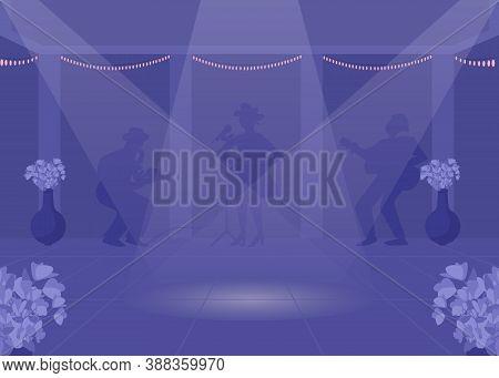 Dancefloor Flat Color Vector Illustration. Nightlife Entertainment. Party Night. Spotlight On Dance