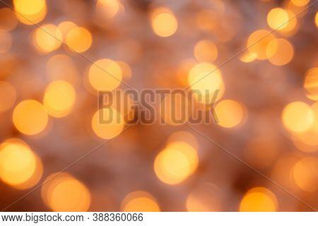 Soft Golden Bokeh Background. Gentle Tone. Defocus Effect.