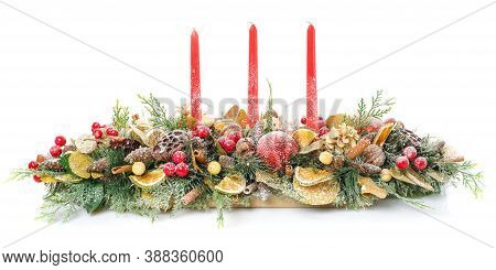 Composition With Beautiful Candlesticks And Other Decorations For Home Interior