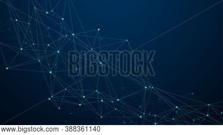 Abstract Plexus Background With Connected Lines And Dots. Plexus Geometric Effect. Digital Data Visu