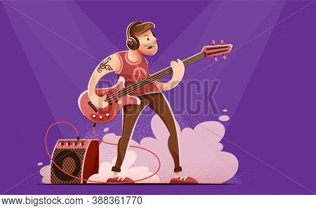 Rock guitar player man in headphones, playing rock music with bass guitar on concert stage. Sound amplifier speaker in smoke. Character isolated on dark background. 3D illustration.