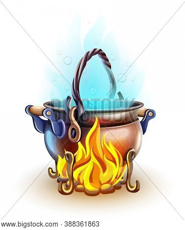 Fairy-tale pot with magic of witch potion cooking at bonfire with burning fire. Blue steam. isolated on white transparent background. 3D illustration.