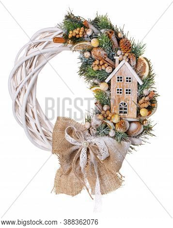 Composition With Decoration Christmas Wreath On White. Christmas Still Life. New Year And Christmas
