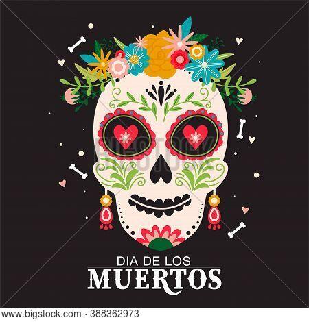 Dia De Los Muertos Or Day Of The Dead Composition. Traditional Mexican Festival. Sugar Mexican Skull