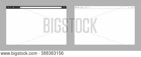 Web Browser. Black And White Template. Browser Window With Blank Page. Computer Screen. Webpage Tool