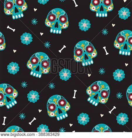Dia De Los Muertos Or Day Of The Dead Seamless Pattern. Traditional Mexican Festival. Sugar Mexican