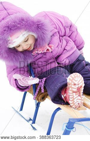 Baby Girl On Sledges Looks At The Snow In Her Hand