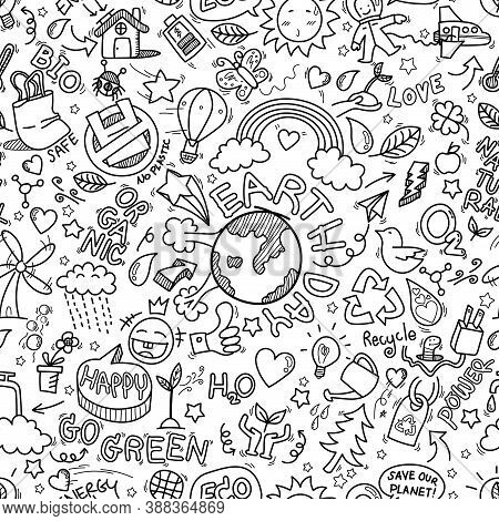 Earth Day Doodles Seamless Pattern Background. Hand Drawn Of Earth Day, Ecology , Go Green, Clean Po
