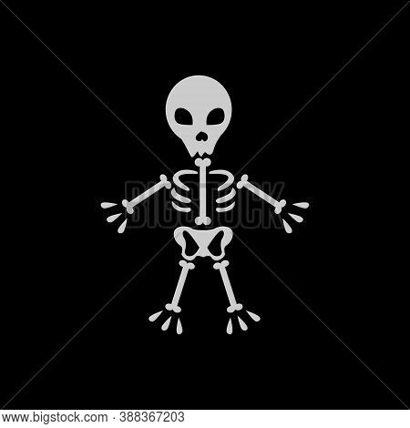 Skull And Bones Icon Isolated On Black Background. Trendy Skull And Bones Icons And Modern Skull And
