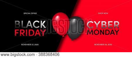 Black Friday Super Sale. Cyber Monday. Black Background. Balloons. Super Sale. Limited Time Offer. V
