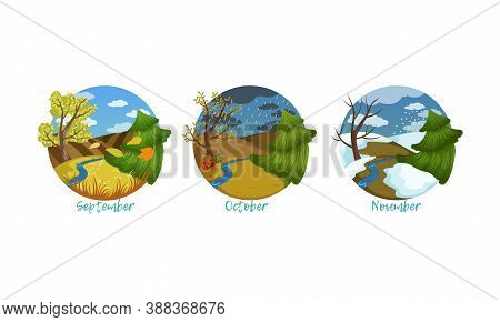 Three Months Of The Year Set, Autumn Season Nature Landscape, September, October, November Months Ve