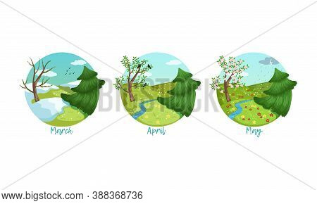 Three Months Of The Year Set, Spring Season Nature Landscape, March, April, May Months Vector Illust