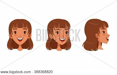 Cute Cheerful Brown Haired Girl Set, Different View Of Girl Face, Front, Profile Side And Three Quar