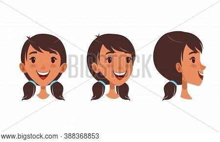 Cute Happy Brunette Girl Set, Different View Of Girl Face, Front, Profile Side And Three Quarter Vie