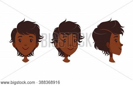 Cute Happy Smiling African American Girl Set, Different View Of Girl Face, Front, Profile Side And T