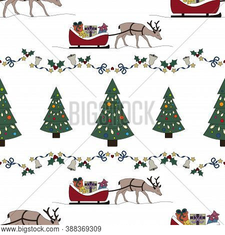 Reindeer And His Sleigh Full Of Gifts. Garland Holly, Star And And Christmas Bell. Christmas Tree. C