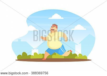 Chubby Man Running In Park, Overweight Man Character Doing Workout Outdoors Vector Illustration