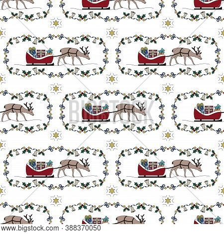 Reindeer And His Sleigh Full Of Gifts. Garland Holly, Star And And Christmas Bell. Christmas Seamles