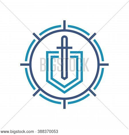 Shield And Sword - Vector Logo Template Design. Guard Shield Business Concept Icon. Protection Secur